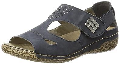 Rieker Damen V7264 Offene Sandalen mit Keilabsatz