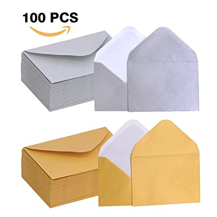 supla 100 pcs gift card envelopes 4 x 27 in gold and silver mini - Business Card Envelopes