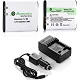 Powerextra 2 Pack Pentax D-LI92 Replacement Li-ion Battery + Charger For Ricoh Pentax Optio I-10, RZ10, RZ18, WG-1, WG-1 GPS, WG-2, WG-2 GPS, WG-3, WG-3 GPS, WG-4, WG-4 GPS, WG-10, X70
