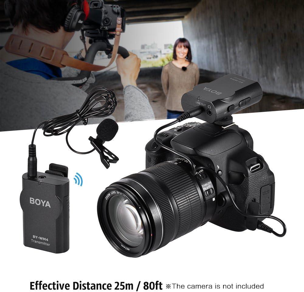 BOYA by-WM4 2.4GHz Wireless Solapa Lavalier Micrófono Sistema Mic ...