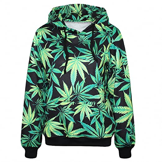NEW Harajuku Hoodies Women Pullovers Print Weeds Green Leaves 3D Hooded Sweatshirt With Pockets as picture M