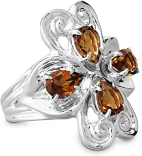 product image for Carolyn Pollack Sterling Silver Cognac Quartz November Birthstone Heart Ring Size 05 to 10