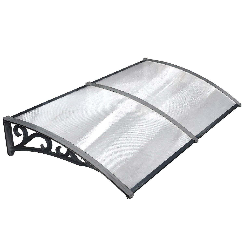 MVPOWER Toldo para Puertas y Ventanas en Jardí n al Aire Libre Dosel de Techo Marquesina Protecció n del Sol y Liuvia (Color Negro, 190*98.5cm)
