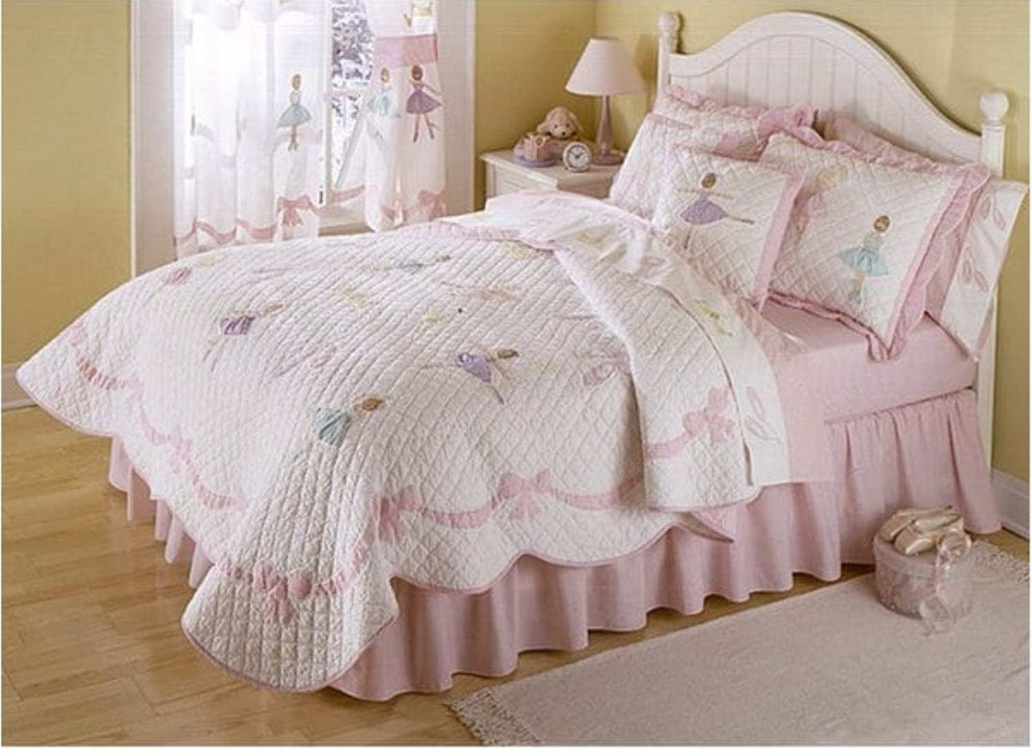 3 Piece Dancing Ballerina Design Quilt Set Full/Queen Size, Featuring Embroidered Diamond Ribbon Pattern Bedding, Playful Fun Dance Lover Inspired Girls Bedroom Decoration, Pink, White, Multicolor
