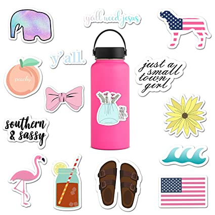 bfe98d1aa1 (15 Pack) Preppy and Trendy Stickers for Water Bottles, Yeti Stickers for  Teens