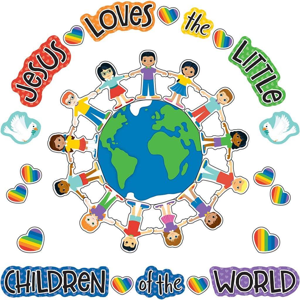 Amazon Com Carson Dellosa Jesus Loves The Little Children Bulletin Board Set Christian 41pcs Office Products