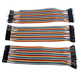 Foxnovo 3pcs 20cm multicolore 40-pin maschio a femmina Male a maschio Female a femmina Breadboard Jumper fili cavi a nastro