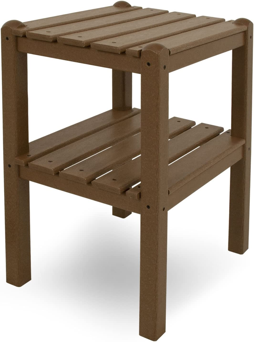 POLYWOOD TWSTTE Two Shelf Side Table, Teak