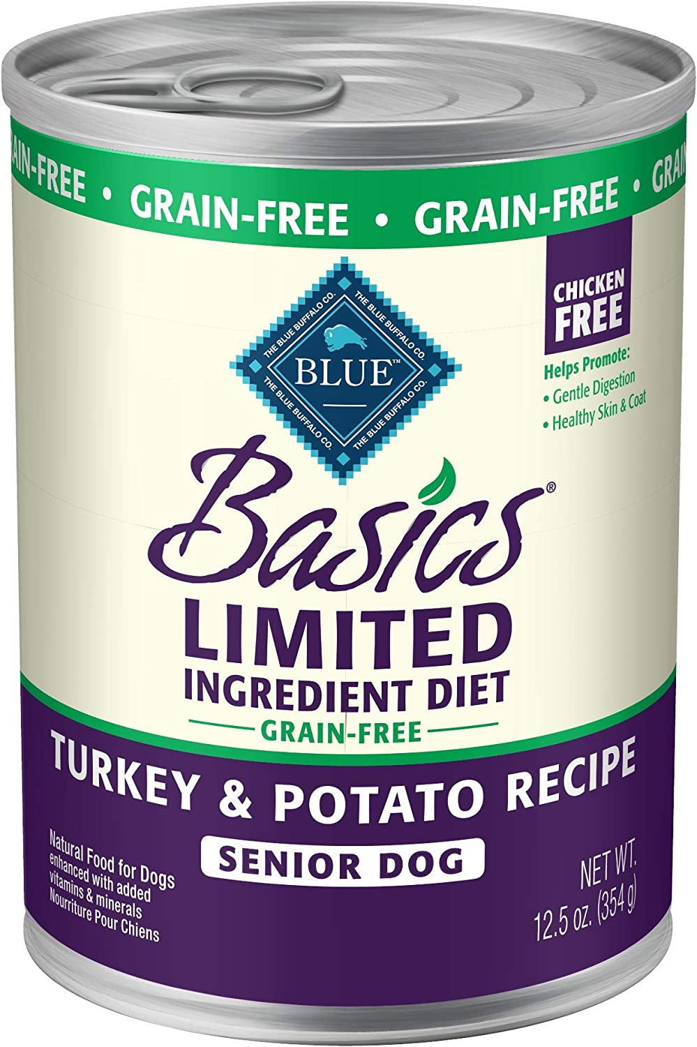 Blue Buffalo Blue Basics Grain-Free Turkey Potato Recipe Senior Wet Dog Food