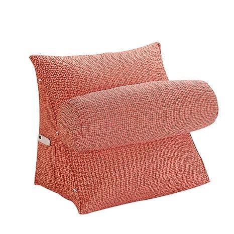 oamore Comodidad Almohada de Lectura Cojín de Soporte Lumbar Almohada de TV - para iPad Lectura electrónica y sofá (Orange, L:55x55x28cm)