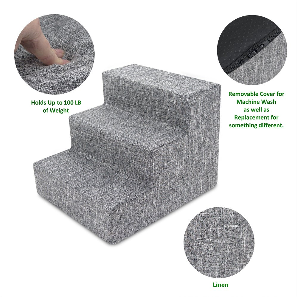 Best Pet Supplies Foam Pet Stairs 3-Step - Gray Linen, Small (15 x 13.5 x 18 inches)