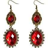 RareLove Lolita Red Rhinestone Teardrop Chandelier Dangle Earrings