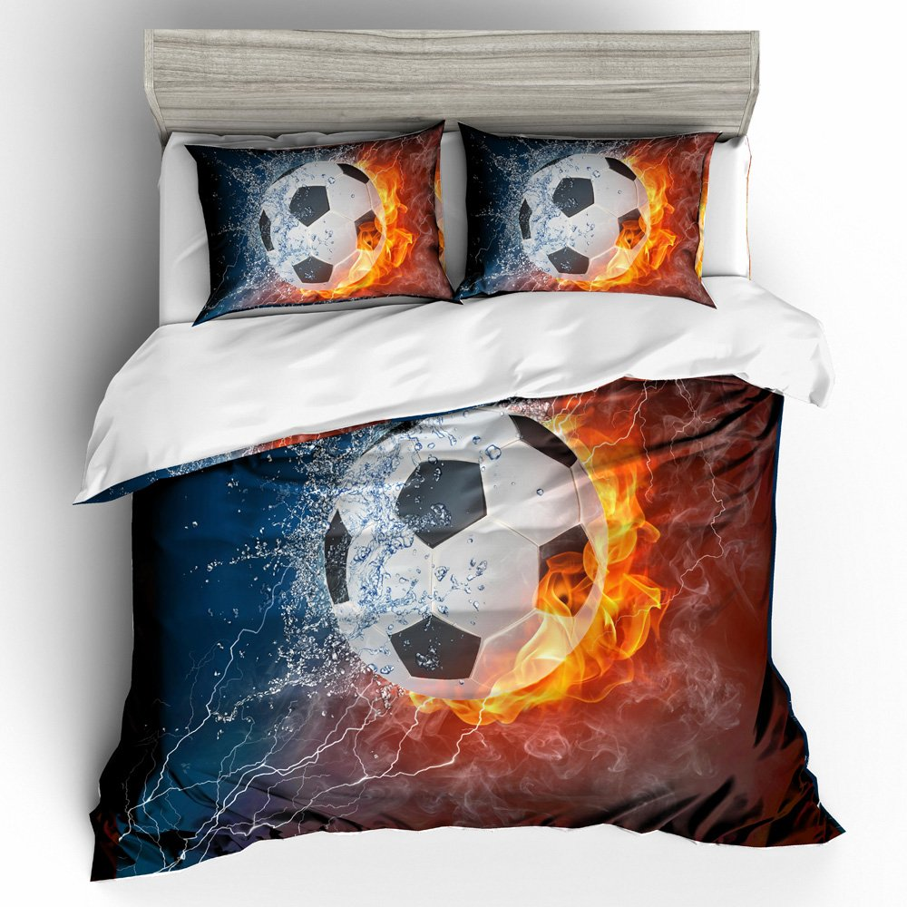 BOMCOM 3D Digital Printing Soccer Ball on Fire & Water with Lightening around on Abstract Background 2-Piece Duvet Cover Sets 100% Microfiber Dark Blue (Fire & Water Soccer Ball, Twin) JAKOB SCHNEIDER
