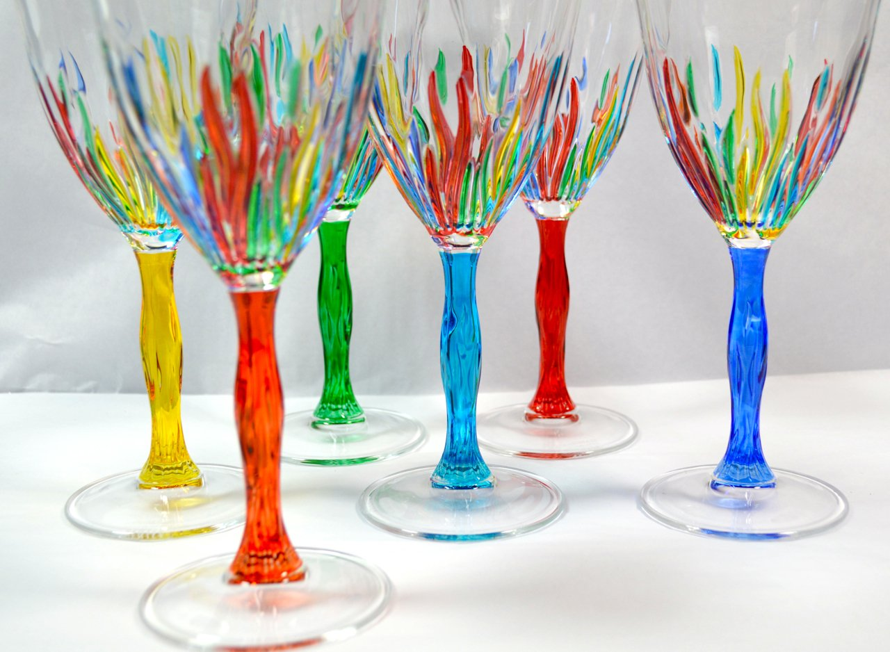 Authentic Italian Cordial Glasses, Fire, Murano Glass Set of 6