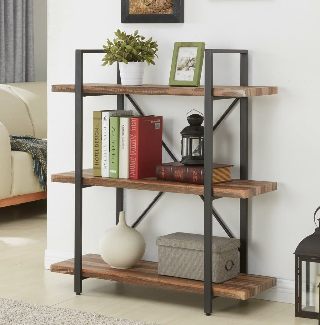 Homissue 3-Tier Industrial Bookcase and Book Shelves, Vintage Wood and Metal Bookshelves, Retro Brown 3 Tier
