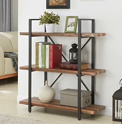 Elegant Amazon.com: Homissue 3 Tier Industrial Bookcase And Book Shelves, Vintage  Wood And Metal Bookshelves, Retro Brown: Kitchen U0026 Dining Idea