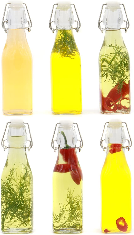 Juego de 6 botellas Clip Top Preserve | Botellas de vidrio hermético Dispensador Cruet | Vinagre de aceite Cerveza Vino Soda | M&W 250ml