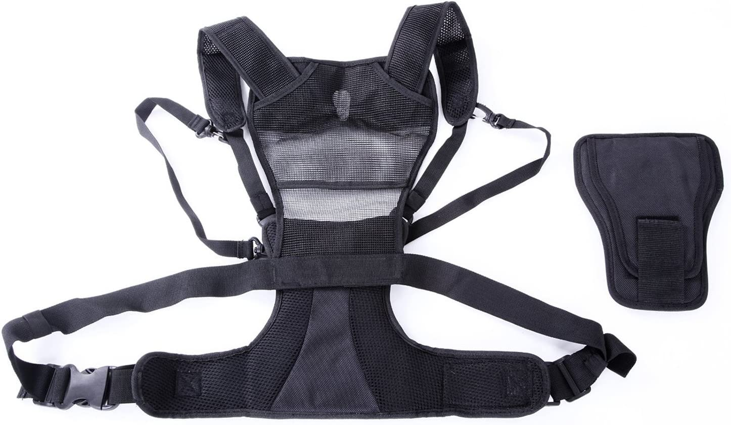 SUPPORTO DOPPIO 2 fotocamera che trasportano Sul Petto Imbracatura fotografo Quick Strap Vest Nuovo