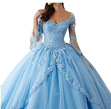 08c06a87a4 Annadress Women s Long Sleeve Lace Quinceanera Dresses Train V-Neck Ball  Gown Blue US2
