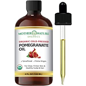 Organic Pomegranate Seed Oil. 100% Pure Unrefined Cold Pressed Essential Oil. Unclog Pores, Remove Dirt, Acne From Skin. Nourishes Hair and Scalp. Natural Antioxidant Moisturizer (4 Fl Oz)