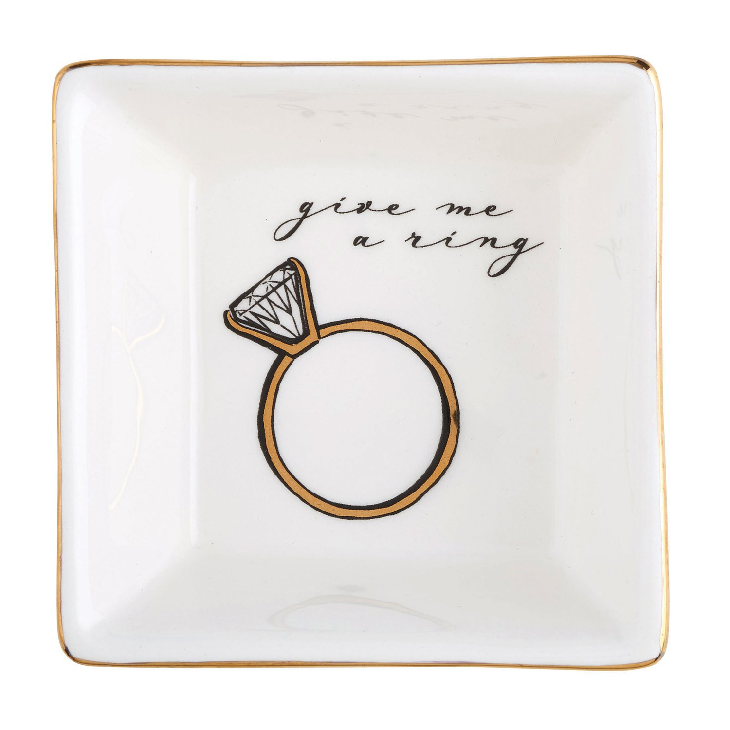 Give Me a Ring Striped Square 3 Inch Ceramic Decorative Trinket Tray Dish