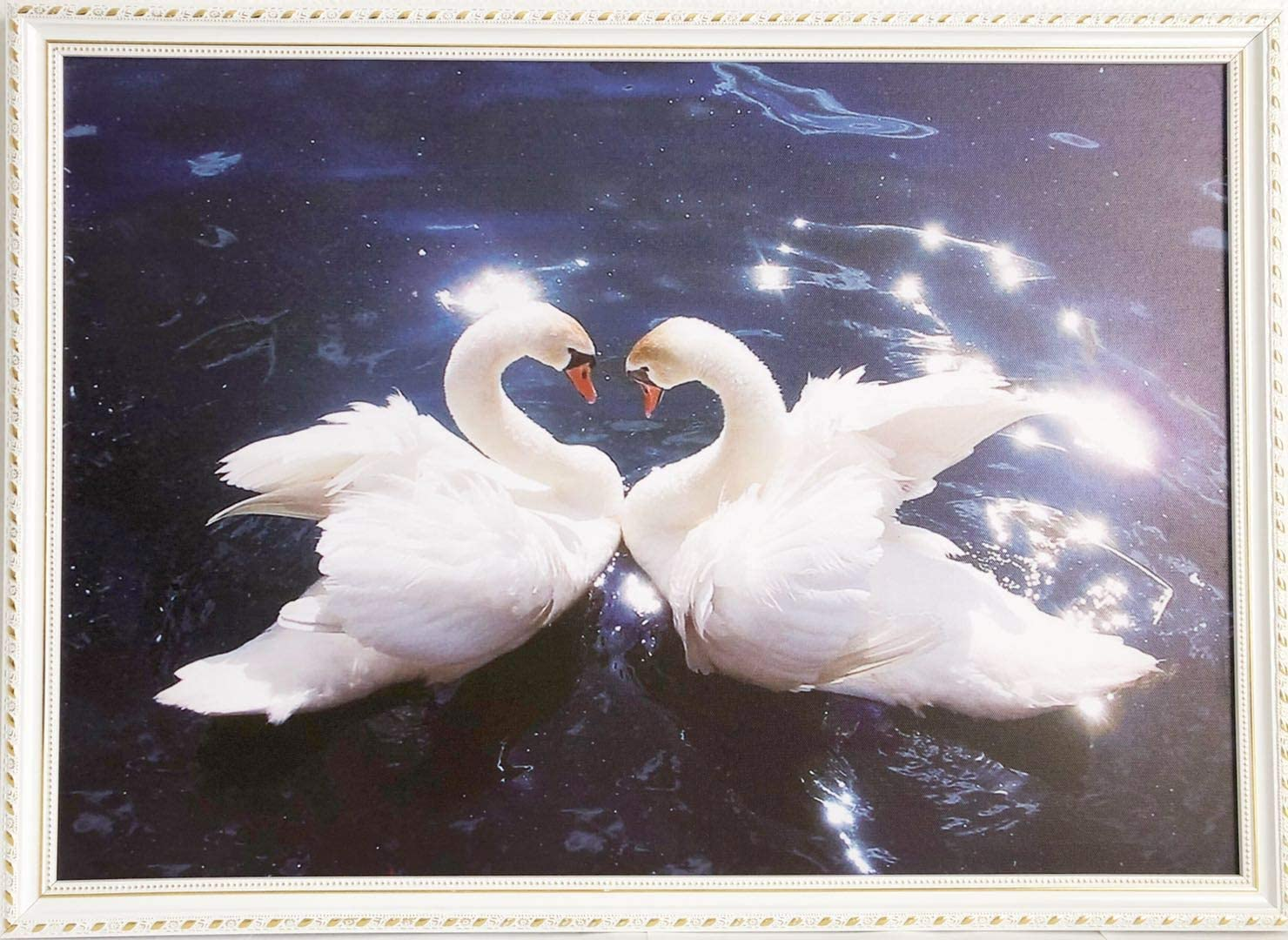 Kissing Swans on Lake Reflection Canvas Art Cheap Wall Print Home Interior