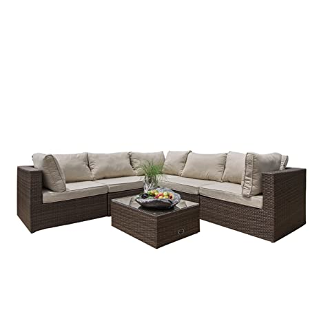Supernova Outdoor Furniture Sectional Sofa Chair 6 Piece Set All Weather