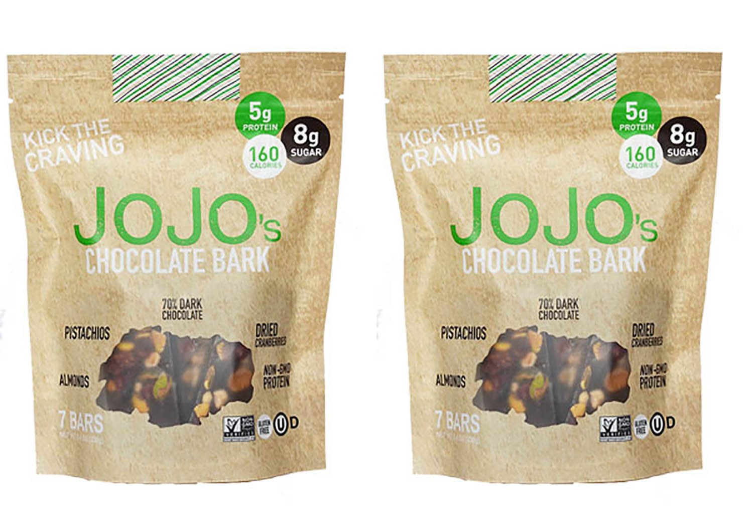 JOJO's Guilt Free Dark Chocolate Bark With All Natural Protein Raw Nuts and Fruit, NON-GMO, Gluten Free, Paleo Friendly, 1.2 Ounce Bars, 14 Count(Two Week Supply- 16 oz)