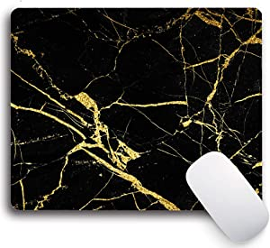 Gaming Mouse Pad with Designs,Black Gold Marble Non-Slip Rubber Mousepad Custom, Rectangle Mouse Pads for Computers Laptop