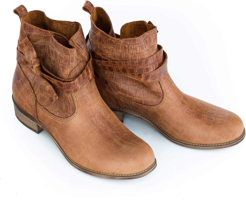 Zapato 458 - Botas de Piel para Mujer Croco Marrón JP7uabpS
