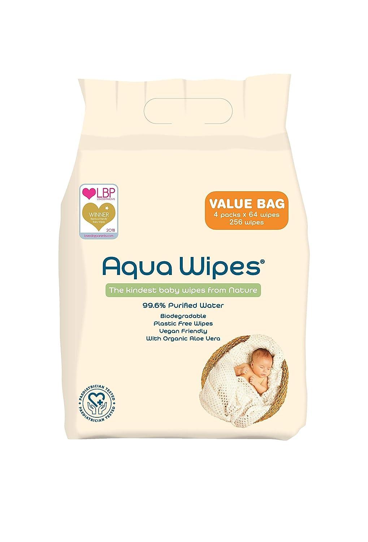 Toallitas húmedas Aqua Wipes, (Bolsa de 4 x 64 paquetes de toallitas húmedas (256 toallitas)), (64 toallitas por paquete), AQW64F4B, Vegana, Biodegradable, ...