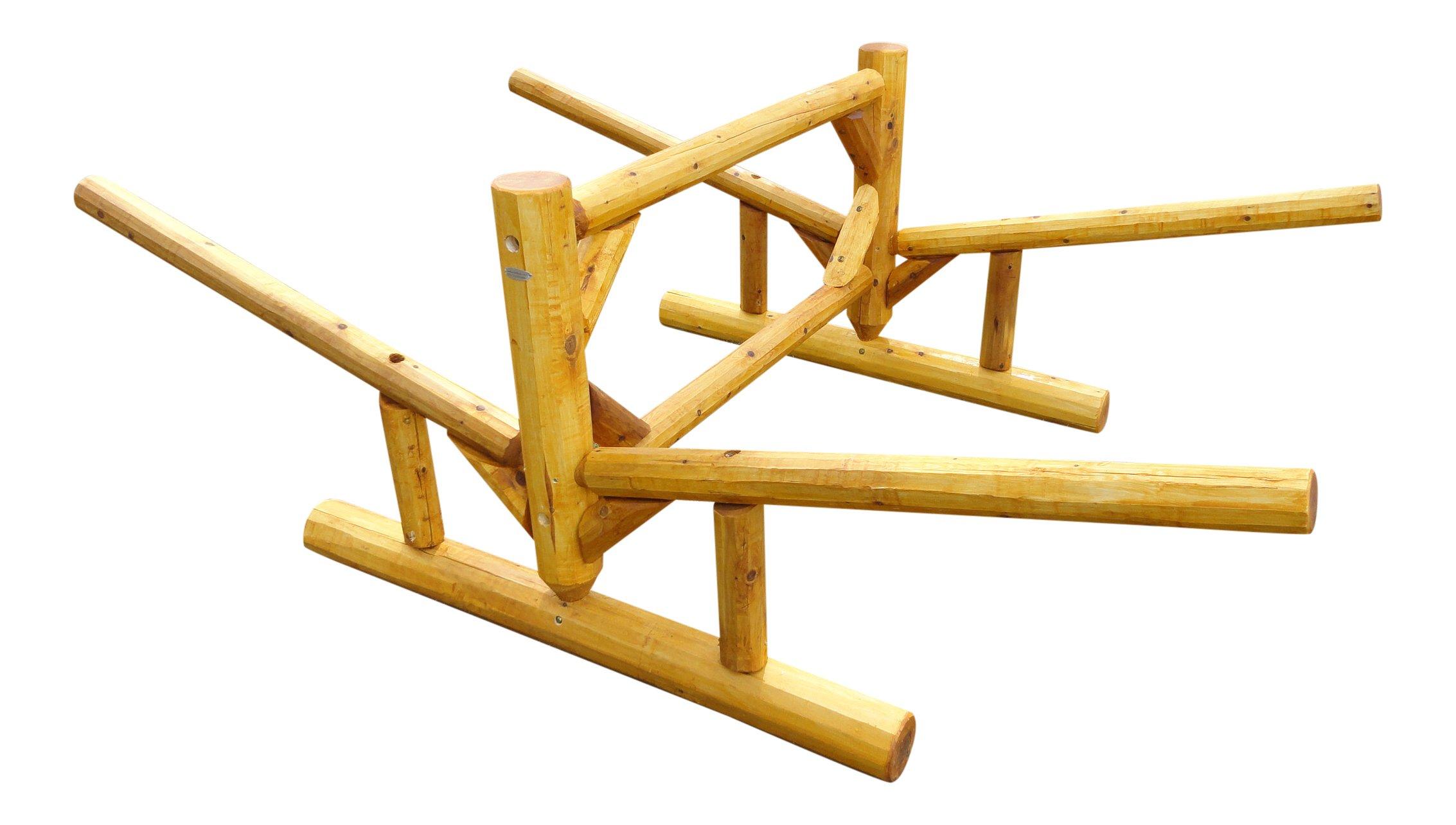 2 Place Double Sided Kayak and Canoe Log Rack Natural by Log Kayak Rack