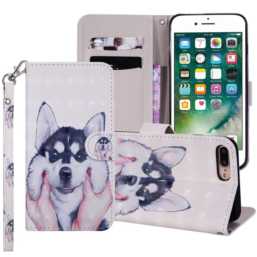 ToneSun iPhone 7 Plus/iPhone 8 Plus Hü lle Case, Leder Filp Wallet Handyhü lle Flipcase: 3D Gemalt Multifunktionale Tasche Cover Brieftasche Schutzhü lle in Schmetterlingsliebesblume TONES15SAA164