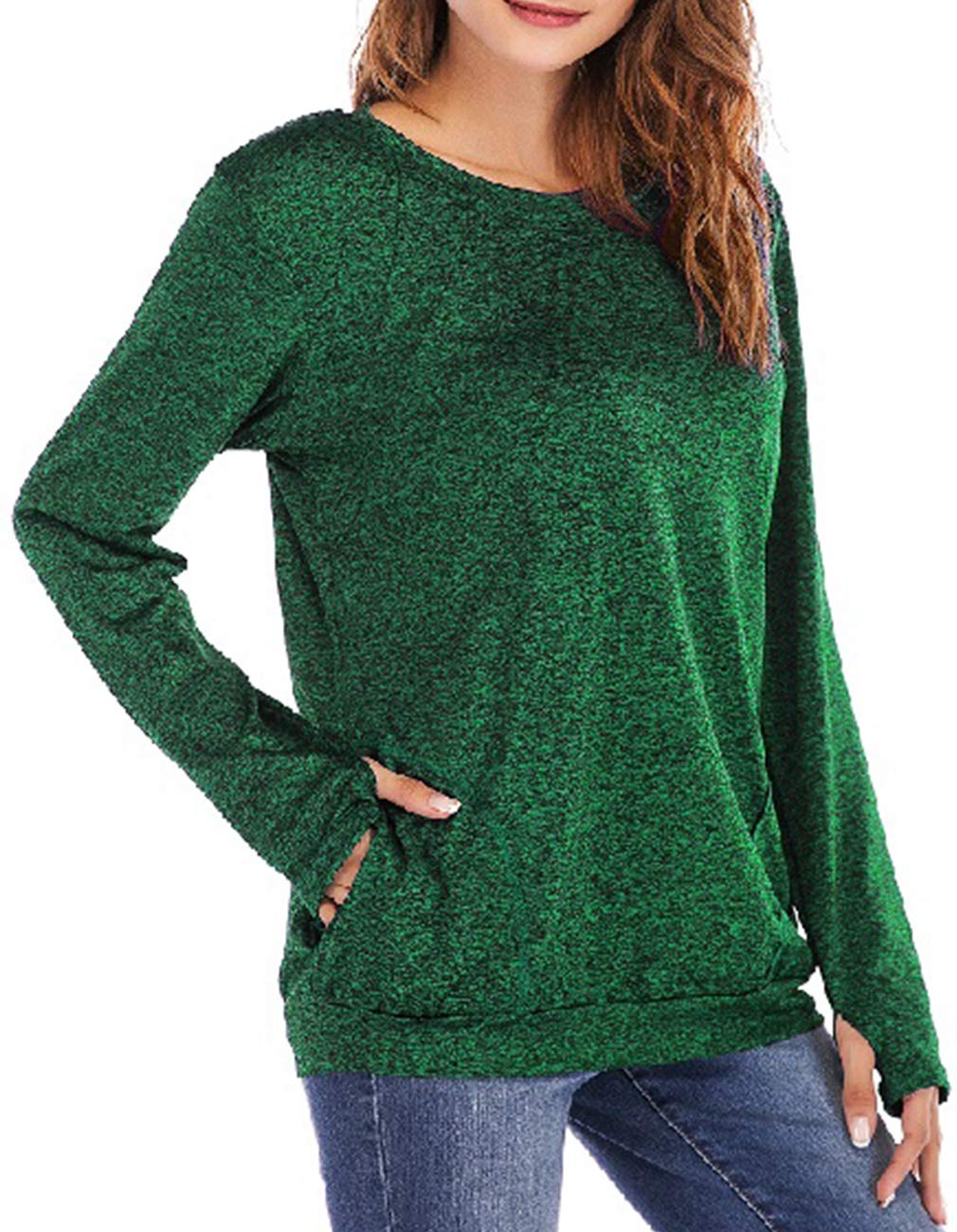 Defal Womens Long Sleeve Round Neck Quick-Dry Top T-Shirts Loose Gym Sports with Thumb Holes Pockets Fashion Tunic Blouse (Green,XXXL) by Defal (Image #1)