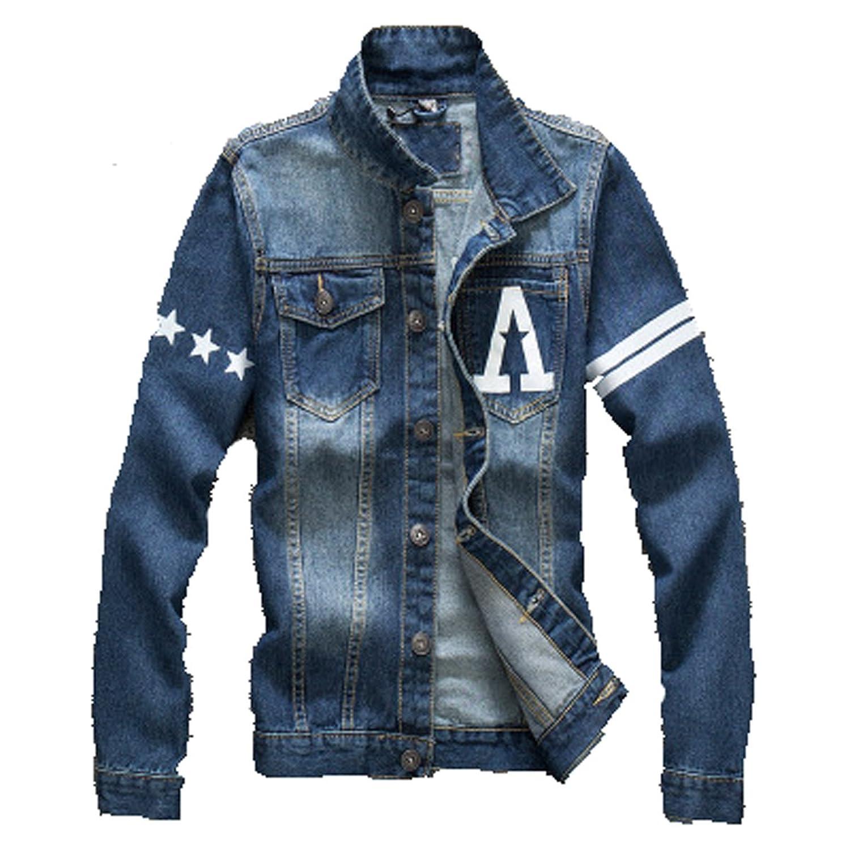 Fall Men Denim Youth Fshion Slim Embroidery Jackets