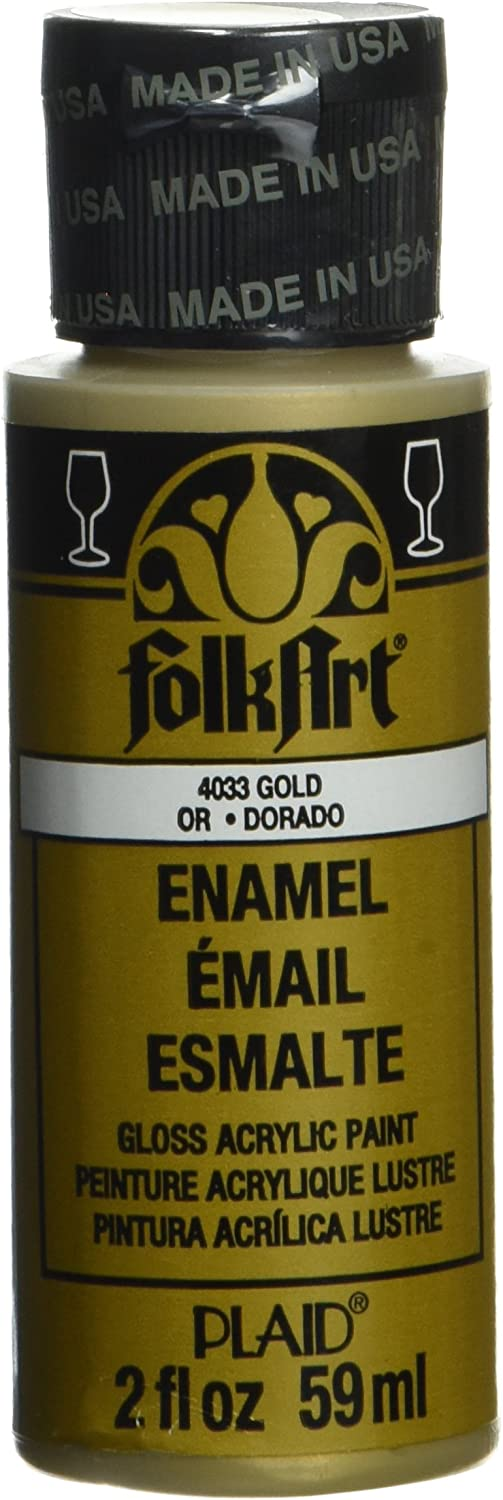 FolkArt Enamel Glitter and Metallic Paint in Assorted Colors (2 oz), 4033, Metallic Gold