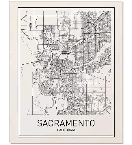 Amazon.com: Sacramento Poster, Map of Sacramento, Sacramento Map ...