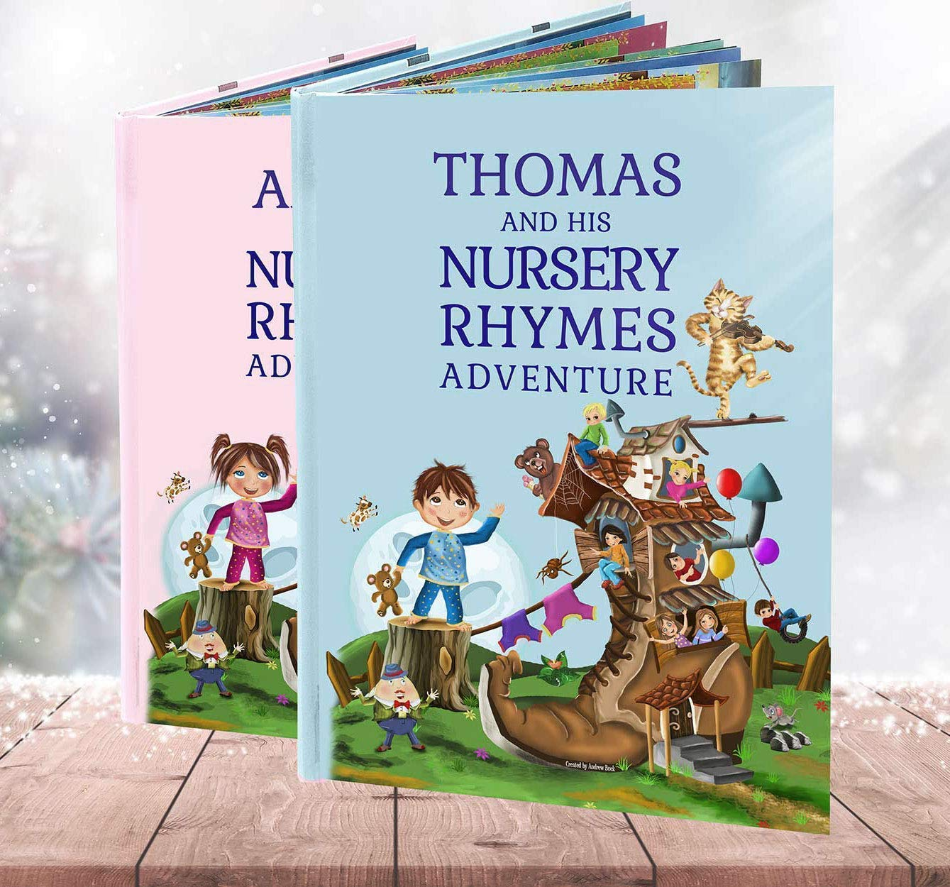 Grandson, Granddaughter Gift, A Personalised Book of Nursery Rhymes and Modern Poems - Baby Niece or Nephew Present