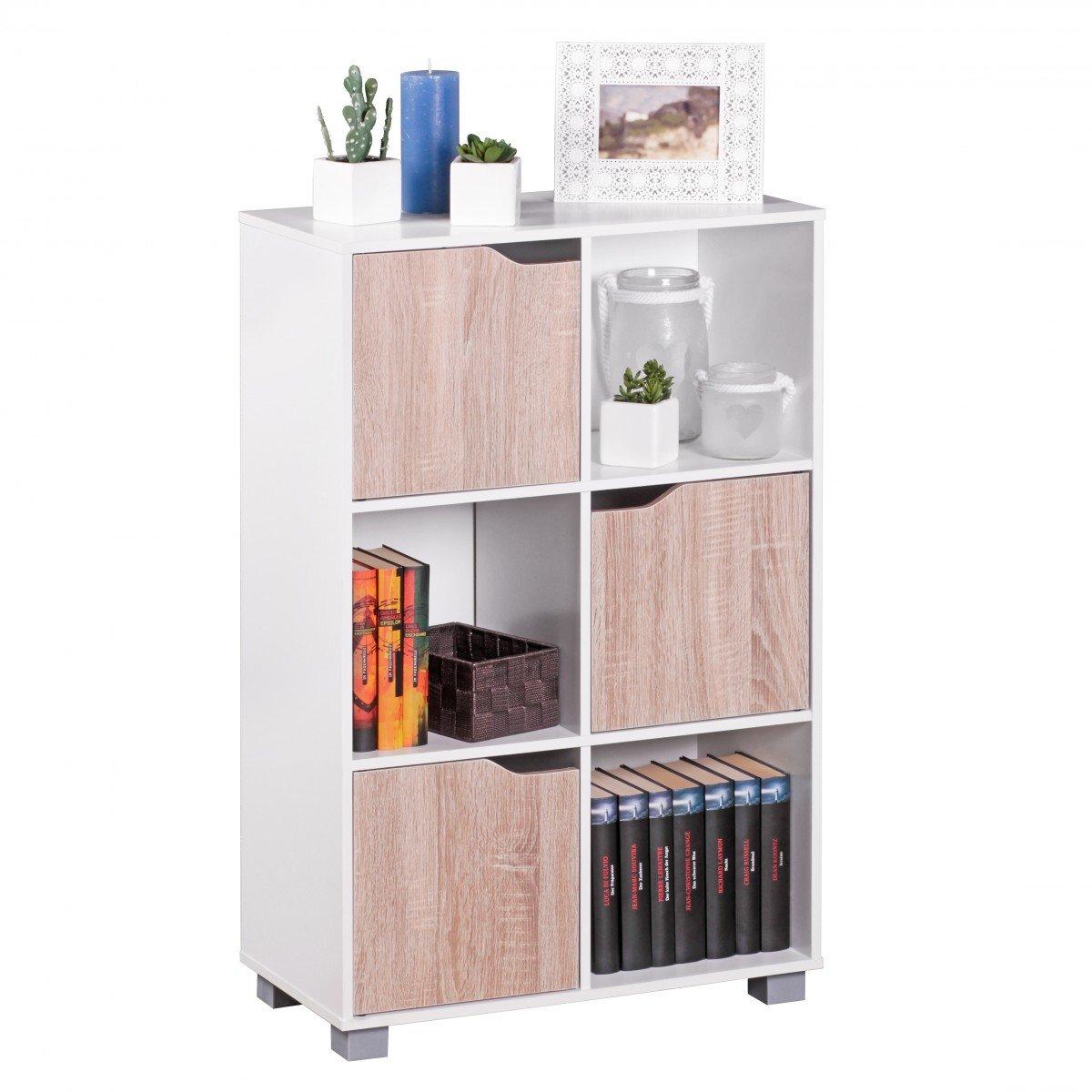 Libreria design bianco SAMO legno moderno con ante in rovere di Sonoma in piedi scaffalature freestanding 6 scomparti 60x90x30cm KADIMA DESIGN