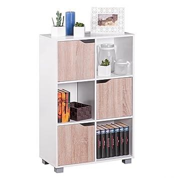 Bücherregale Modern wohnling design bücherregal modern holz weiß mit türen geschlossen