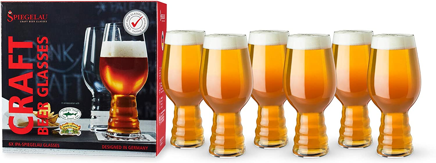 Amazon Com Spiegelau Craft Beer Ipa Glass Set Of 6 European Made Lead Free Crystal Modern Beer Glasses Dishwasher Safe Professional Quality Beer Pint Glass Gift Set 19 1 Oz Kitchen Dining