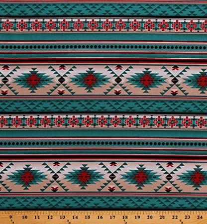 d962d2d53 Amazon.com: Cotton Southwestern Stripes Tribal Designs Indian Native  American Aztec Southwest Turquoise Red Cotton Fabric Print by The Yard  (D362.28)