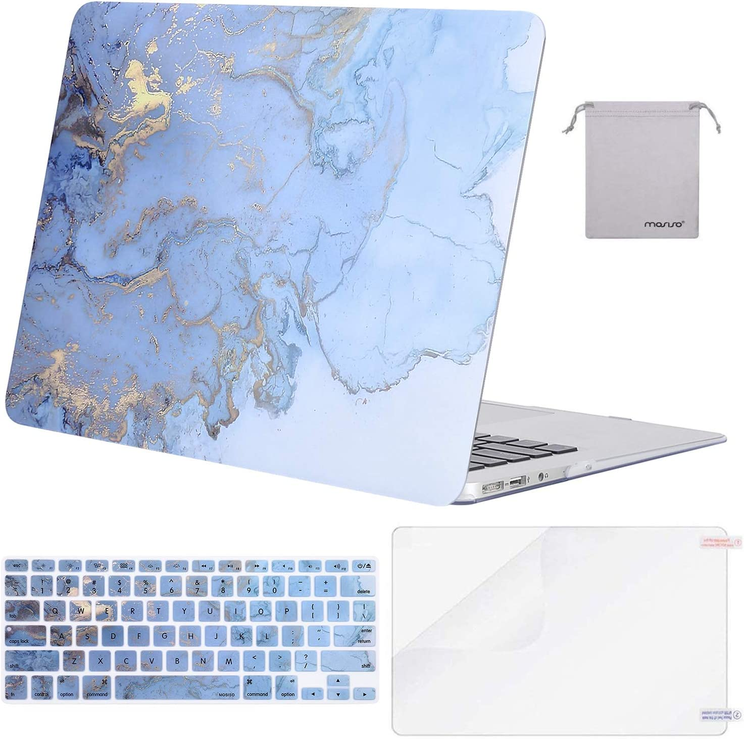 MOSISO MacBook Air 13 inch Case (A1369 A1466, Older Version 2010-2017 Release), Plastic Watercolor Marble Hard Case&Keyboard Cover&Screen Protector&Pouch Compatible with MacBook Air 13 inch, Blue