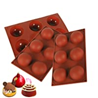 3 Pcs 6 Holes Cylinder Silicone Molds for Making Chocolate Candy Soap Muffin Cupcake Brownie Cake Pudding Baking Cookie - Coffee