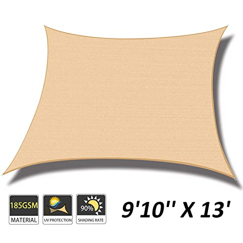 Cool Area 9 10 x 13 Rectangle Sun Shade Sail for Patio Garden Outdoor, UV Block Canopy Awning, Sand