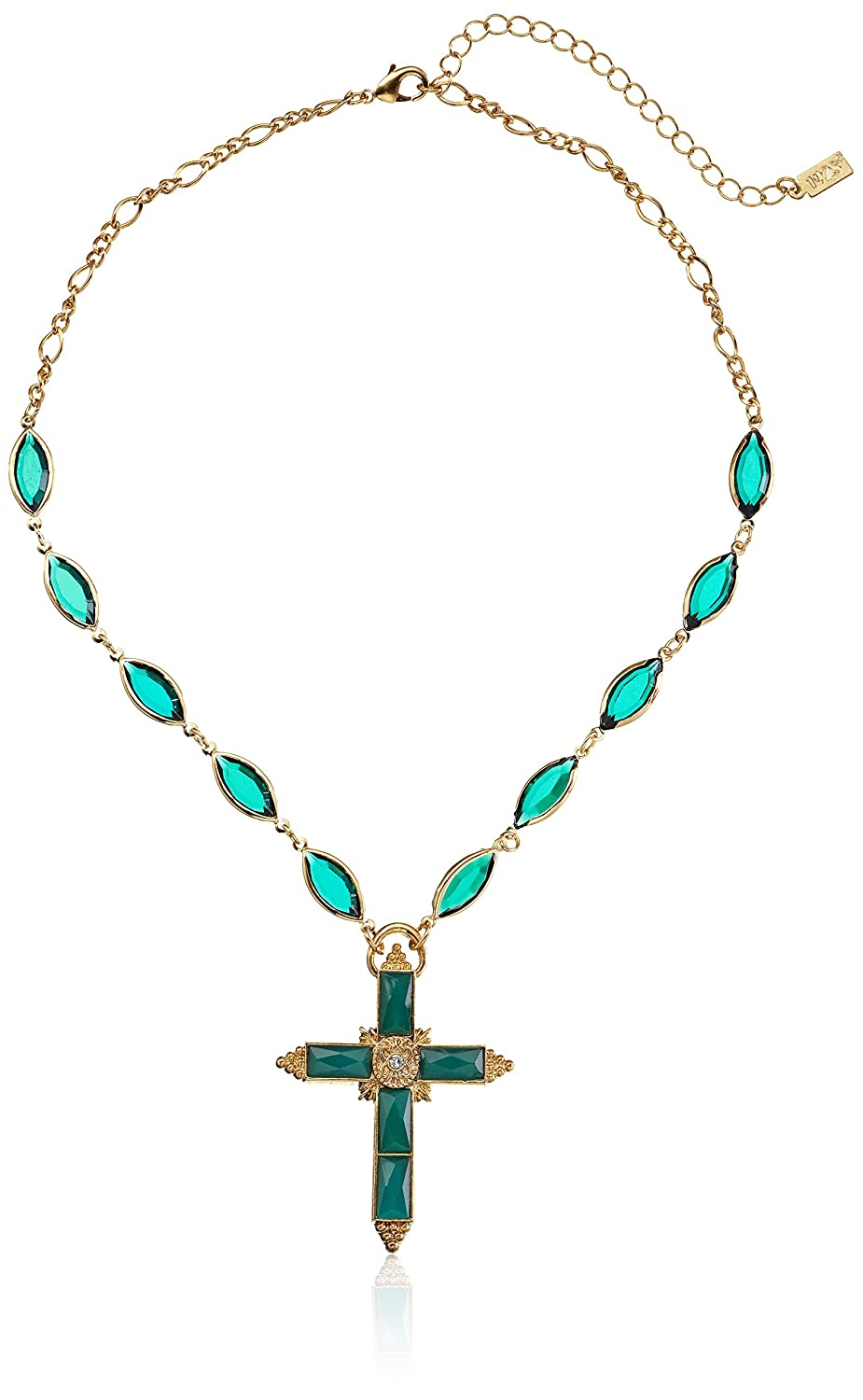 1928 Jewelry Gold-Tone Green Cross Necklace Adjustable Pendant Necklace 16