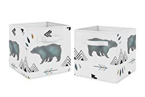 Sweet Jojo Designs Slate Blue and White Bear Mountain Watercolor Organizer Storage Bins for Collection - Set of 2