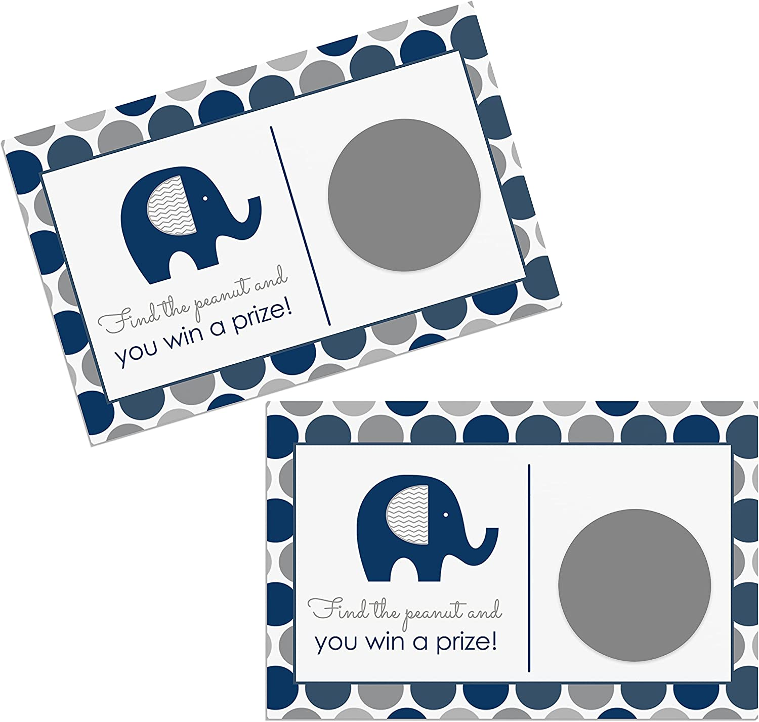 Navy Elephant Scratch Off Cards (28 Pack) Games for Boys Baby Shower - Little Peanut Party Supplies - Raffles Tickets for Prize Drawing Games, Blue and Grey