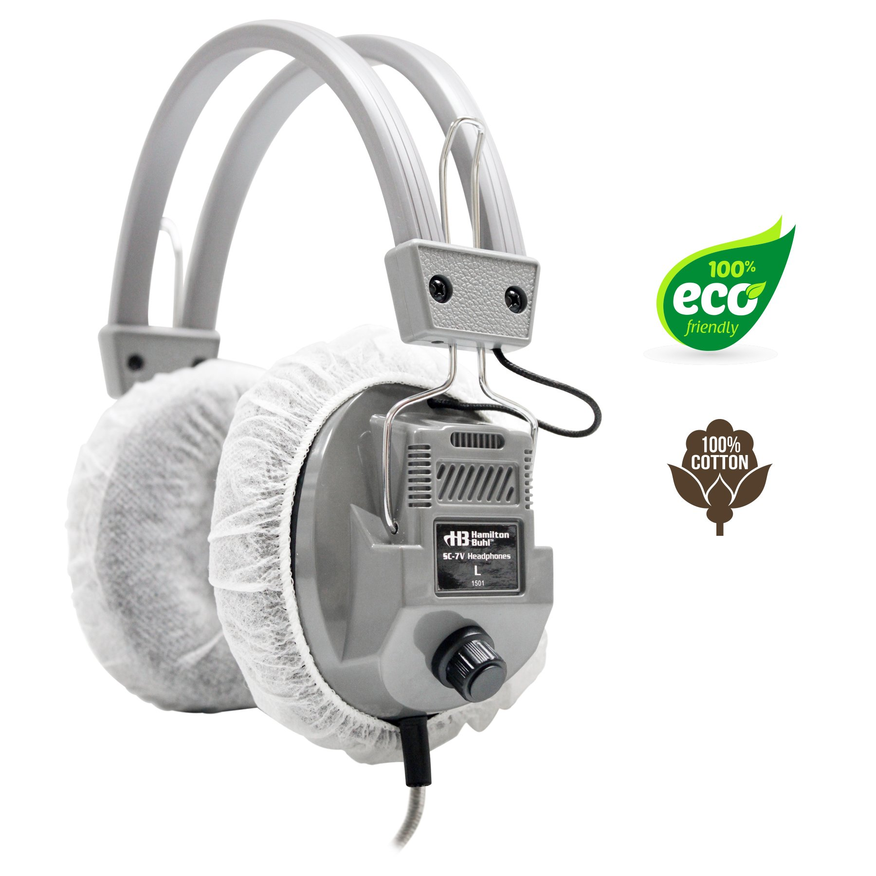 HygenX 100% Cotton Sanitary Ear Cushion Covers 4.5 InchWhite, Master Carton/600 Pairs - For Over-Ear Headphones & Headsets