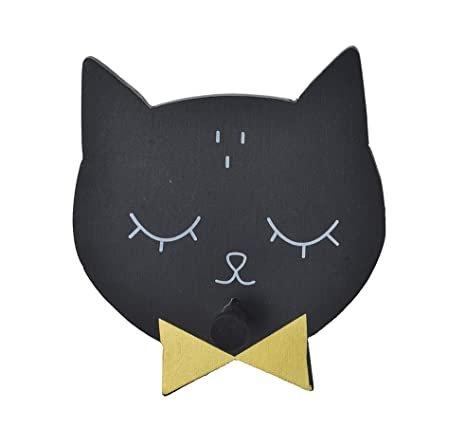 Item Perchero de Pared, Diseño Gatos, Madera, Negro, 12x2x13 ...